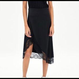 NWT Zara Satin & Lace Black Midi Skirt